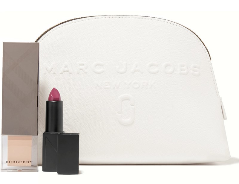 MARC JACOBS Embossed textured-leather cosmetics case