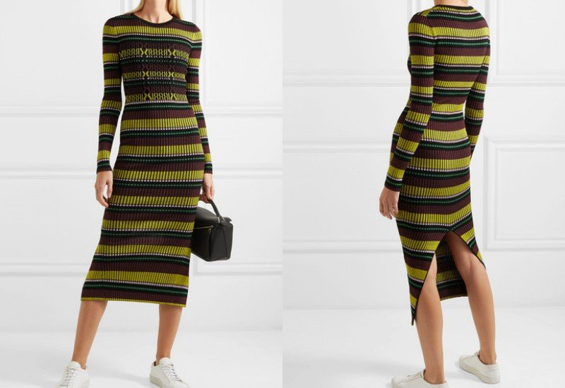 Opening Ceremony Striped ribbed-knit maxi dress