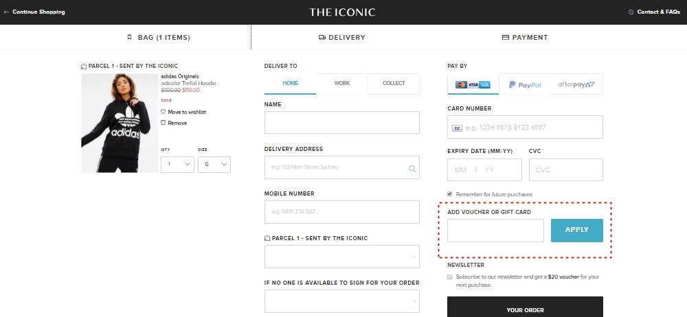 How to add promo codes on The Iconic