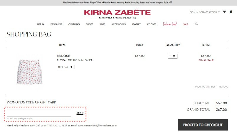 How to add promo codes on Kirna Zabête