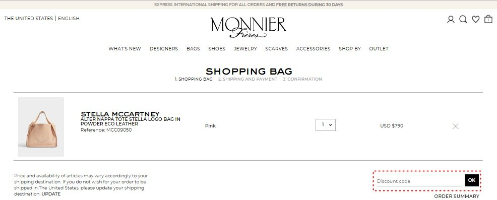How to add promo codes on Monnier Frères