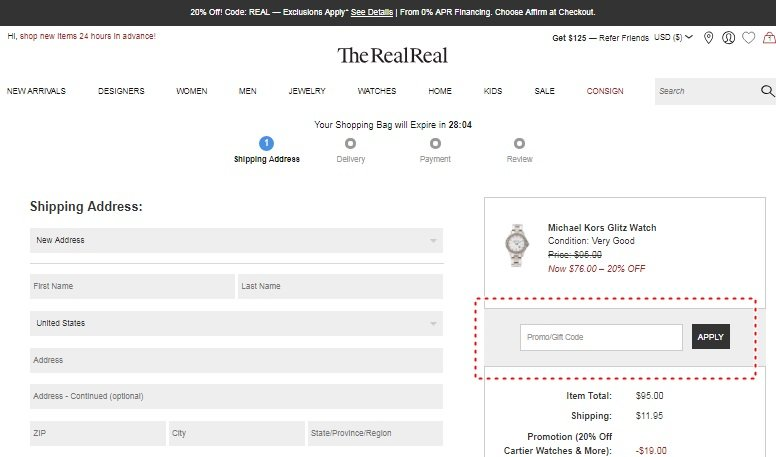 How to add promo codes on The RealReal
