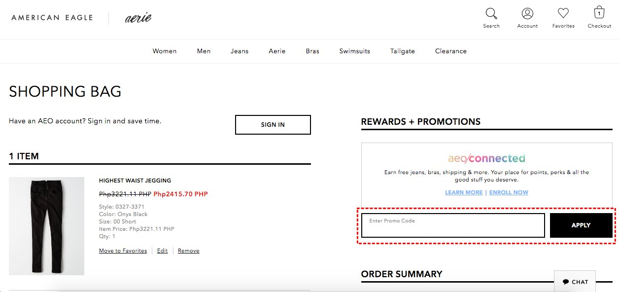 How to add promo codes on American Eagle Outfitters