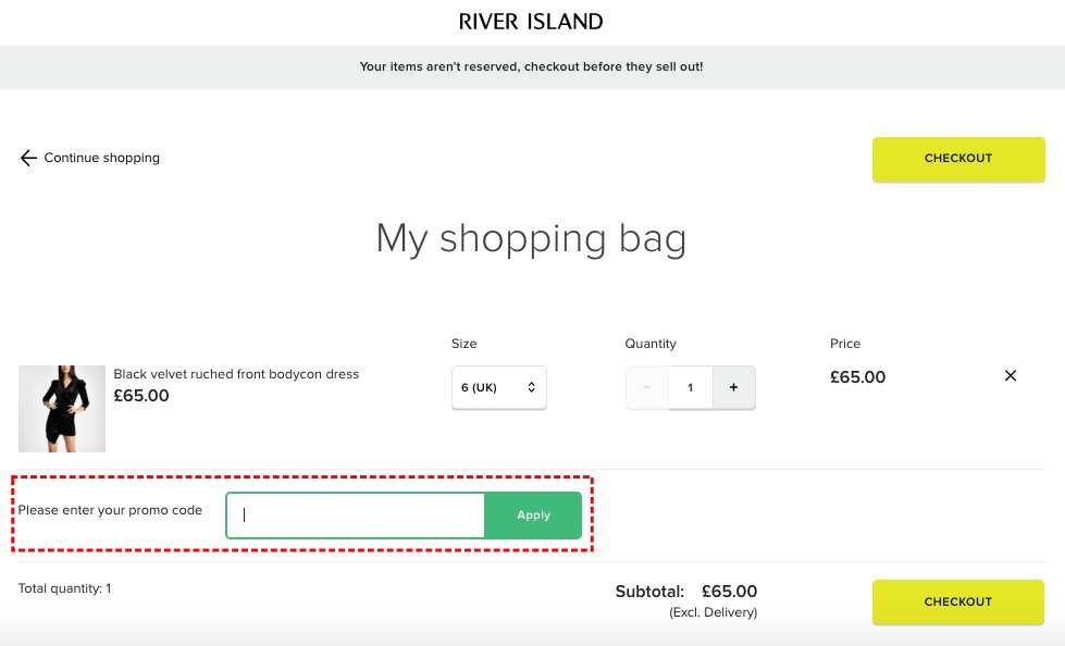 How to add promo codes on River Island