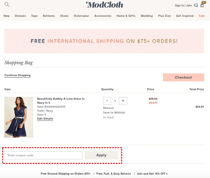 How to add promo codes on ModCloth