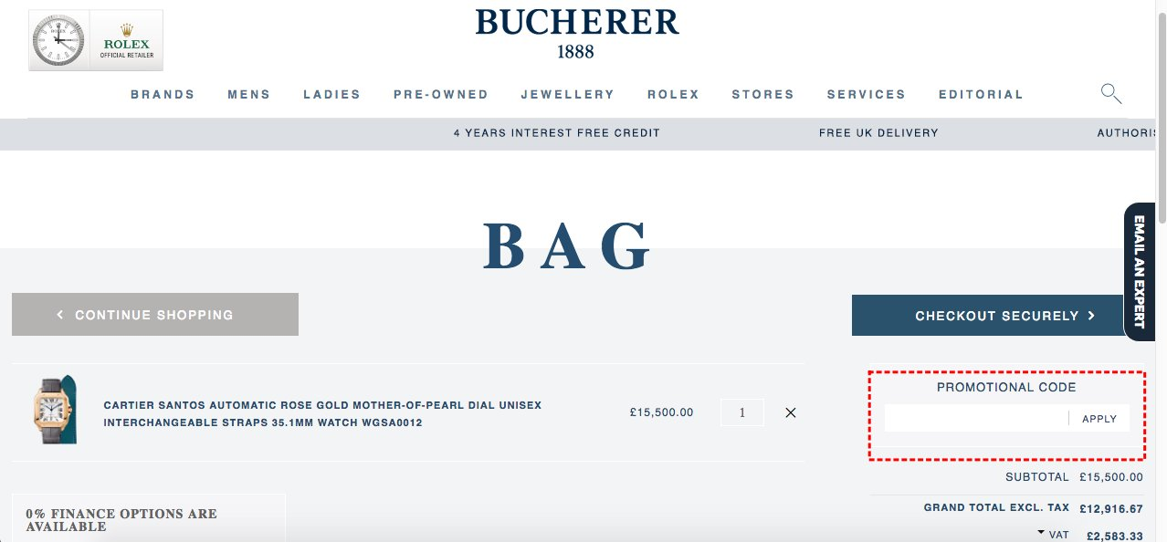 How to add promo codes on Bucherer