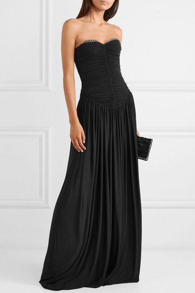 ALEXANDER-WANG-Eyelet-embellished-ruched-stretch-jersey-gown