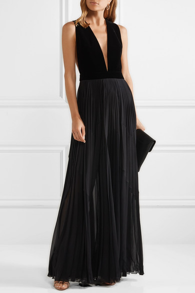 GIVENCHY-Velvet-and-pleated-silk-georgette-gown