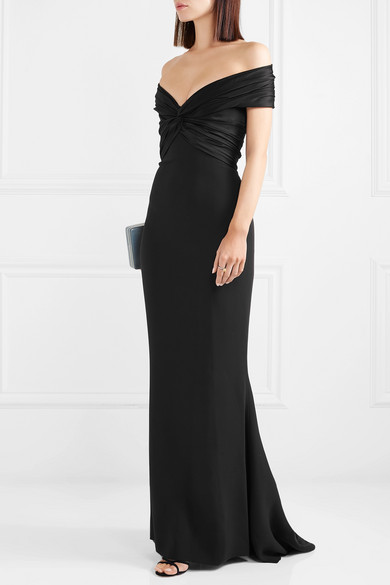 REEM-ACRA-Off-the-shoulder-knotted-silk-crepe-and-satin-gown