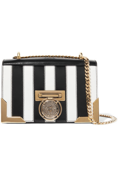 BALMAIN-Striped-leather-shoulder-bag