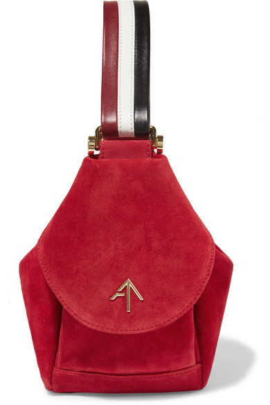 MANU-ATELIER-Fernweh-micro-leather-trimmed-suede-wristlet-bag