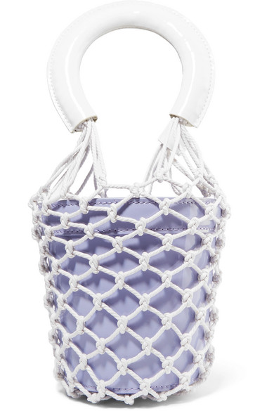 STAUD-Moreau-Mini-macramé-and-patent-leather-bucket-bag
