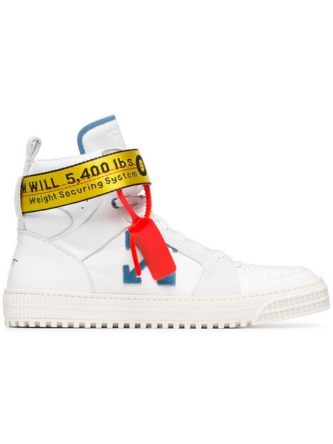 White-Industrial-Hi-Top-Leather-Trainers