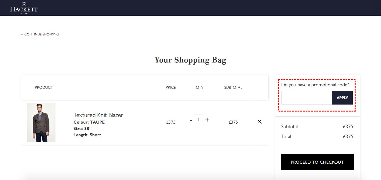 How to add promo codes on Hackett