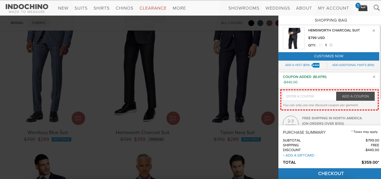 How to add promo codes on Indochino